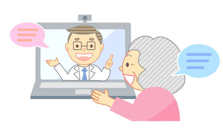 Online medical care and smiling elderly 向量圖像