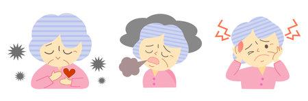 Illustration of menopause in elderly women 向量圖像