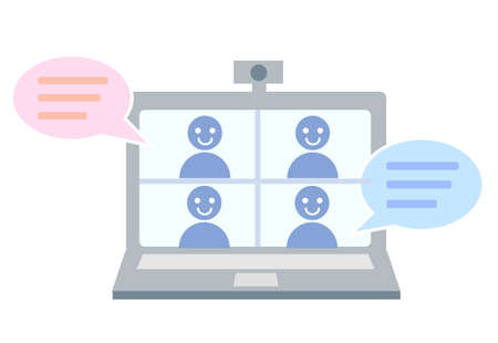 Computer icon with people who have remote meetings