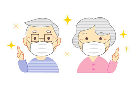 Illustration of an elderly couple wearing a mask