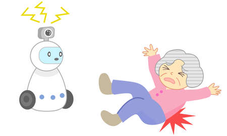 Falling elderly people and watching robots