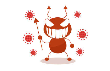 Corona and bacteria character illustration