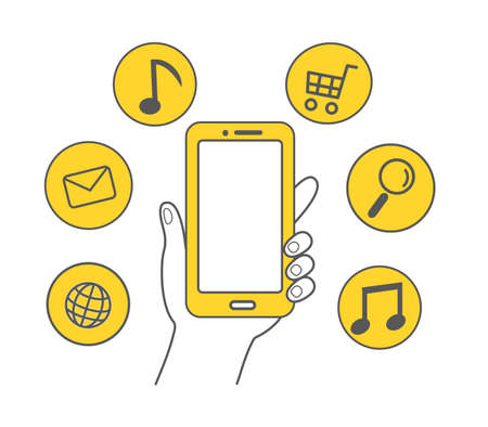 Hand holding the smartphone Yellow icon