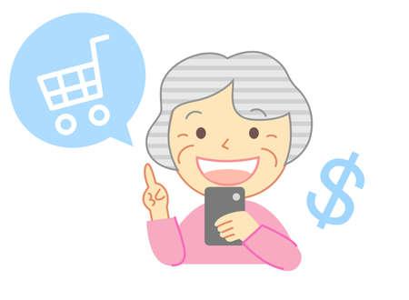 Elderly people shopping online