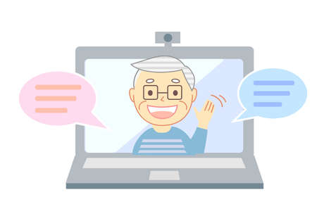 Elderly people with smiles talking through PC