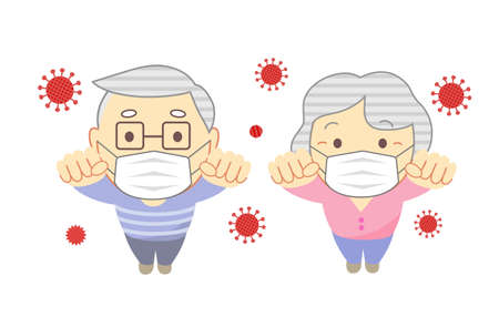 Elderly people raise a clenched fist with mask  High angle