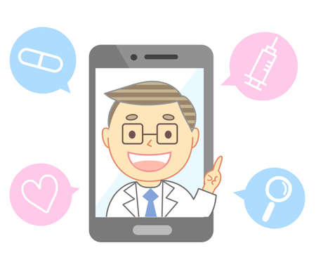 Online medical treatment and doctor's computer smartphone 向量圖像