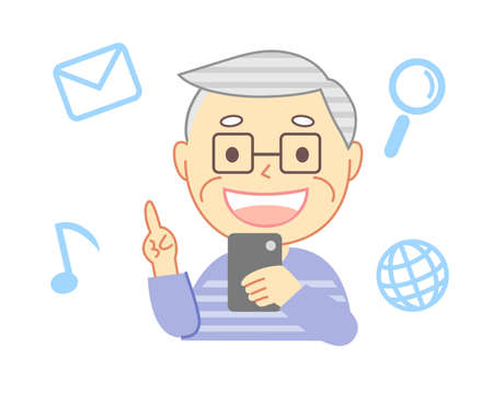 Elderly people and icons using smartphones 向量圖像