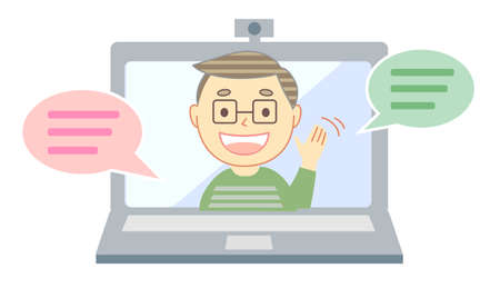 A smiling young man talking through a computer 向量圖像
