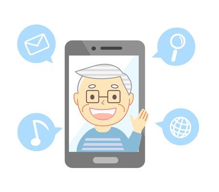 Elderly people with smiles talking through smartphones 向量圖像