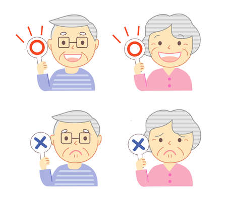 Elderly people with the YES NO mark