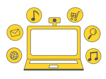 Online and PC yellow icon illustration 向量圖像