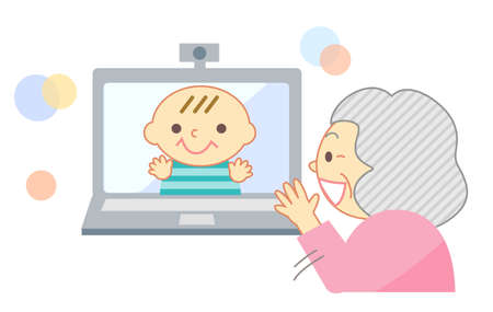 Elderly people talking online with their grandchildren with a smile 向量圖像