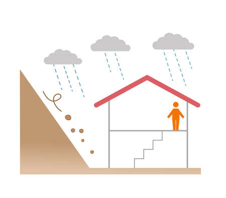 Illustration of floods and house, disaster prevention