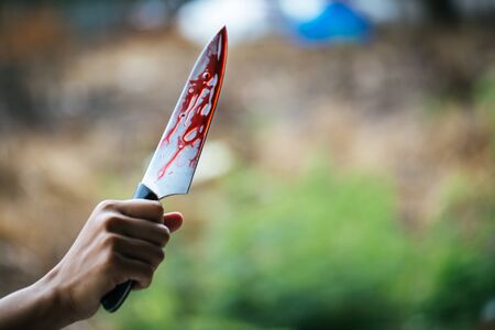 Social violence and insecurity - Knife with blood stains scattered on the background, murder and crime. Stok Fotoğraf