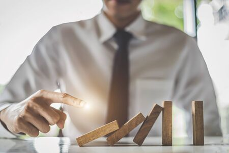 Business growth concept - Close up businessman hands work with modern concepts and business strategies. CEO hands point to economic problems.