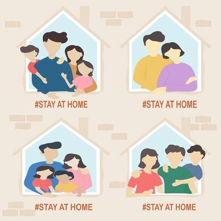 Stay at home and coronavirus COVID-19 concept - Happy families stay in the house to prevent spreading the virus. Quarantine or self-isolation. Vector illustration in flat style. Ilustrace
