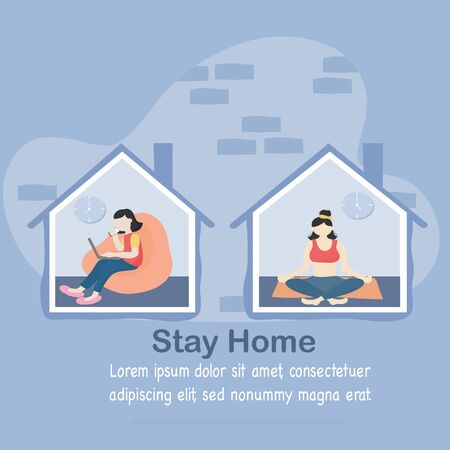 Stay at home and coronavirus COVID-19 concept - Young women working in the house in morning and evening yoga activities to help reduce the spread of the virus. Vector illustration in flat style.