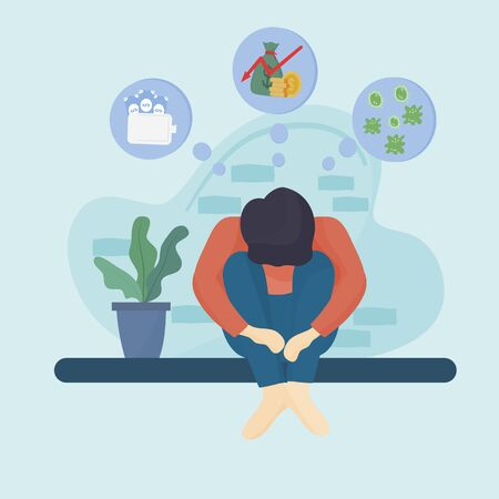 Concept of the effects of the coronavirus or COVID - 19, Young man is stressed from unemployment by bent his head. Unemployed people from economic crisis. flat design illustration.
