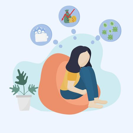 Concept of the effects of the coronavirus or COVID - 19, Young woman sat sadly from unemployment by the impact of the economic crisis. Flat design illustration.