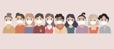 Concept of virus prevention and air pollution - Diverse group of people wearing medical masks to protect Covid-19 and air pollution. Diseases, respiratory viral infection. Vector illustration. Ilustrace