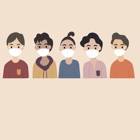 Concept of virus prevention and air pollution - Diverse group of young man wearing medical masks masks banner. Diseases, respiratory viral infection. Vector illustration in a flat style.