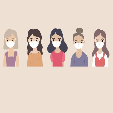 Concept of virus prevention and air pollution - Diverse group of women wearing medical masks masks banner. Diseases, respiratory viral infection. Vector illustration in a flat style.
