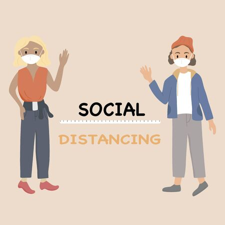 Social distancing concept - Women and men stood apart to greet each other to prevent the spread of the Covid-19 virus. Vector illustration in a flat style.