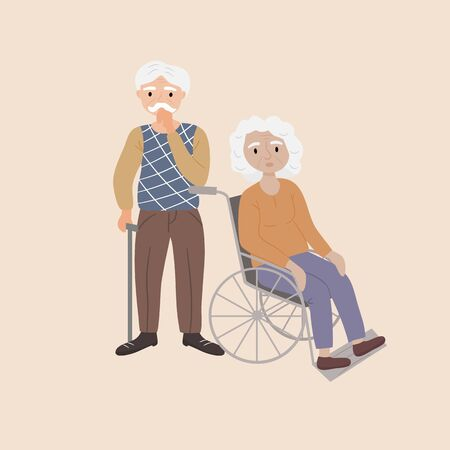 Old man holding a walking stick and an old woman sitting in a wheelchair. Elderly people couple receiving help and care. Senior, grandparent, grandmother, grandfather. Flat Vector Illustration.