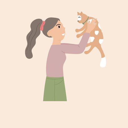 Pet owner isolated on Soft tone background. woman holds the cute cat in the chest warmly.  Portrait of happy pet owner. Vector illustration in a flat style.