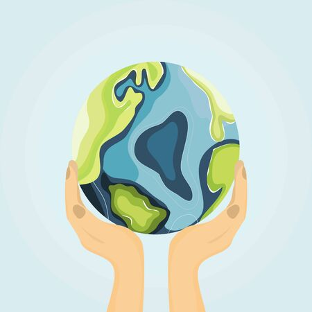 Earth Day. Renewable energy for ecology and environment conservation concept. Close up hand that is embracing the beautiful world with care. Flat design.Vector illustration.