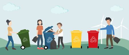 Eco-friendly and World Environment Day. Group of people are helping to protect the environment by properly throwing out plastic waste, glass bottles, food waste and paper Bio technology.