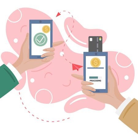 Money transaction online concept.  Close up hand  pay using a smartphone Mobile phone mobile phone and credit card.  Safe and easy payment. Vector flat illustration. Illustration