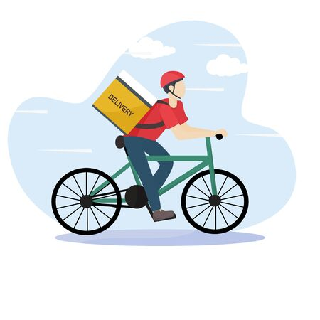 Modern online delivery service concept - Order products online that are fast and safe from pollution outside the home. Express free delivery from the warehouse by  bicycle courier, Home and office.