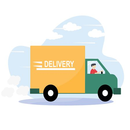 Modern online delivery service concept - Order products online that are fast and safe from pollution outside the home. Express free delivery from the warehouse by truck, Home and office.
