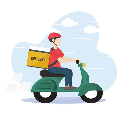 Modern online delivery service concept - Order products online that are fast and safe from pollution outside the home. Express free delivery from the warehouse by scooter, Home and office. Çizim