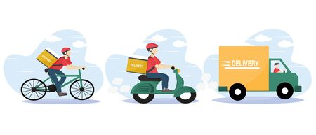 Online delivery service and E-commerce concept. Fast shipping according to customers orders. Warehouse, truck, scooter and bicycle courier. Food service. delivery home and office. Vector illustration. Ilustrace
