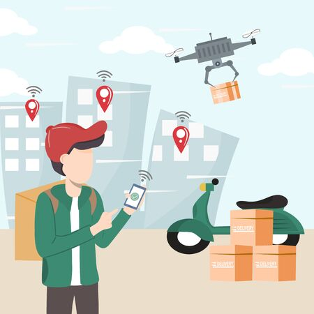 Modern logistics transportation and drone delivery service. Young man holds the robotic control box with the wireless remote to deliver the box to the people in the building. Shipping with copter.