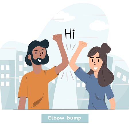 Elbow bump. Men and women use arms to greet each other. New greetings to avoid spreading the virus instead of touching the body. Vector flat design illustrations. Illustration