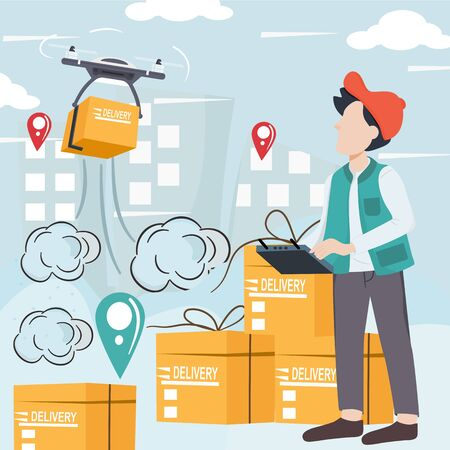 Modern logistics transportation and drone delivery service. Young man is controlling remote control drone to shipping by air to customers in the building. Using a box distribution copter. Vector.