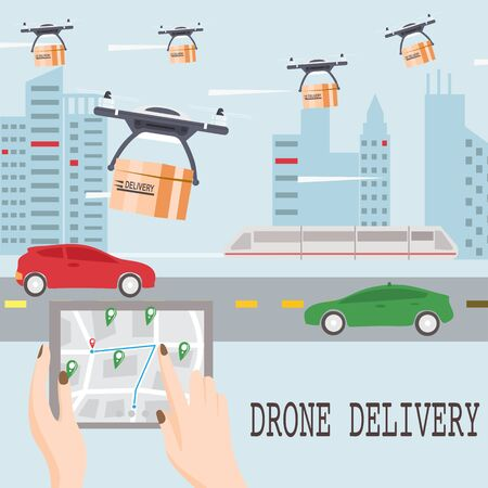 Drone delivery service and modern logistics transportation. Close-up holding hand of controlling the quadcopter with the remote to deliver the goods by air. Shipping of goods with modern technology.