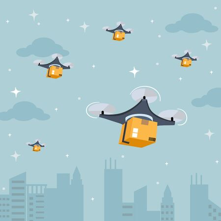 Drone delivery service. Quadcopter flies over tall buildings and carries parcels for delivery to customer at night. Modern logistic system fast transportation concept. Flat design vector illustration.