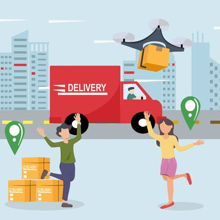 Drone delivery service. Men and women are excited about the parcel  delivery of quadcopter. Modern logistic system fast transportation concept. Flat design vector illustration. Ilustrace