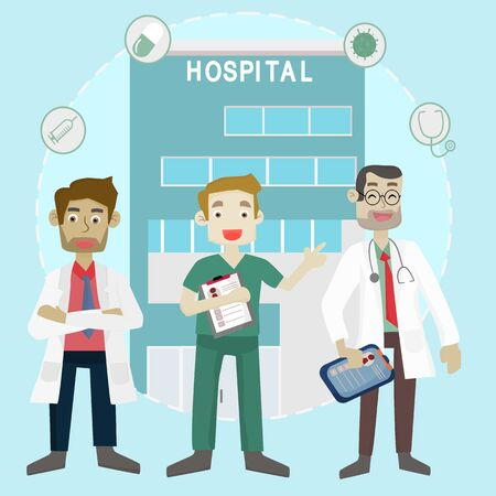 Medical consultation concept - Vector illustration of a medical team standing confidently with a hospital background. Flat cartoon vector illustration.