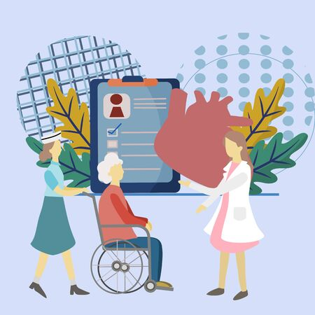 Medical vector,Abstract design graphic. Professional doctors are advising senior patients sitting on a wheelchair. Medical diagnostics and healthcare consultation app service