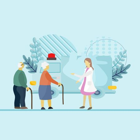Illustration in flat style Old people and medical treatment, Grandfather and grandmother were walking to see the doctor in the examination room in the hospital. Social advertising, signboard, web.