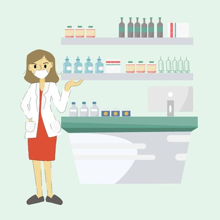 Modern pharmacist concept - Young woman pharmacist stood at the counter, with shelves lining the back. Modern flat design concept of web page design for website.