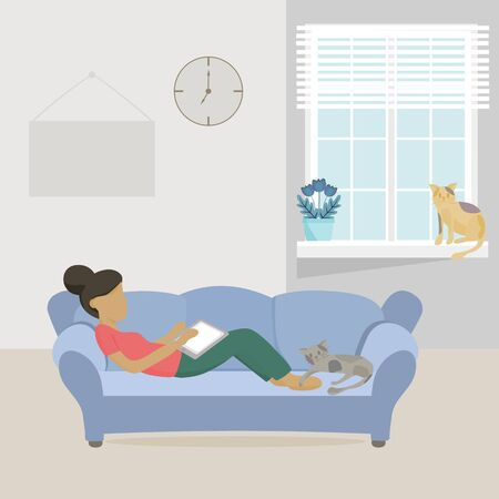 Coronavirus COVID-19 concept, Stay at home. Work from home during an outbreak of the COVID-19 virus. Young woman is sitting with laptop on the sofa at home.
