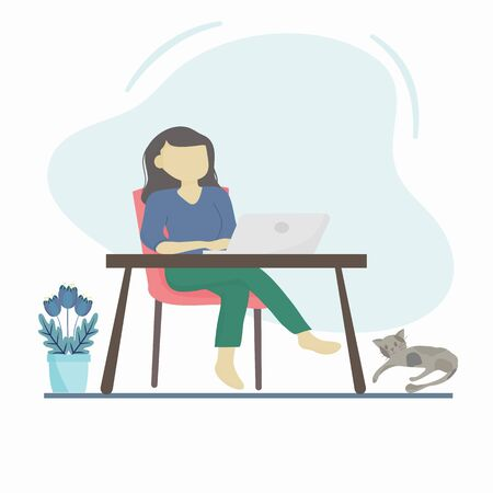 Coronavirus COVID-19 concept, Stay at home. Company employees can work at home to avoid dangerous viruses and reduce congestion.  Vector flat style illustration. Woman working on laptop at her house.