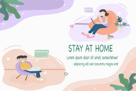 Coronavirus COVID-19 concept, Stay at home. Men and women are working together by online video to reduce the risk of getting infected with the Covid-19 virus. Vector flat style illustration.